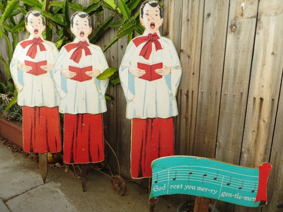 Vintage outdoor christmas carolers set 4 foot 4 pc wooden for Outdoor christmas figures