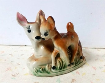 Vintage Kitsch Mom and Baby Deer Planter Bambi Planter