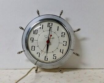 Vintage Mid Century Modern Chrome Wall Clock by Ingraham