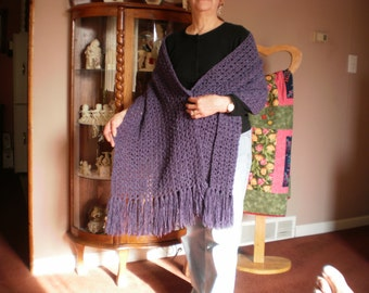 Lightweight Crocheted Plum Shawl