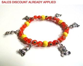 Teddy Bear Charm Bracelet , Red & Yellow, Millefiori, Teddy Bear Charms, Girls Size Jewelry, Sizes 4' (Baby) to 6' (Girls)