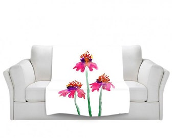 Fleece Blanket - Echinacea Floral Watercolor Painting - Home Decor Cozy Living Room