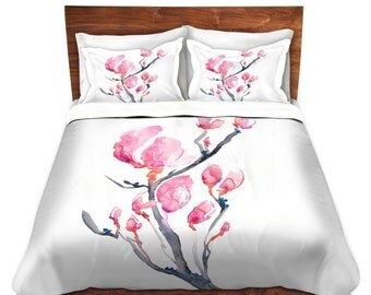Duvet Set Floral Magnolia Painting - Nature Modern Bedding - Queen Size Duvet Cover - King Size Duvet Cover