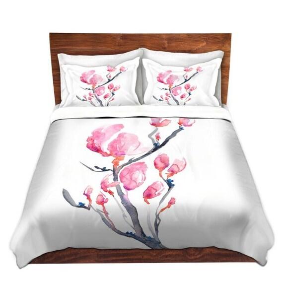 Duvet Set Floral Magnolia Painting - Nature Modern Bedding - Queen Size Duvet Cover - King Size Duvet Cover