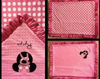 Baby Blankets, Baby Shower Gift, Baby Gifts, Name Blanket, Minnie Mouse, Personalized Blanket,Girl Blanket, Minky Blanket,