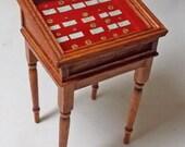 Dolls house miniatures Handmade Gold Coin Display Table