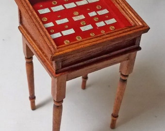 Dolls house miniatures Handmade Gold Coin Display Table