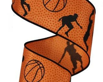 2.5 Inch Basketball Wired Ribbon RG1066, Deco Mesh Supplies
