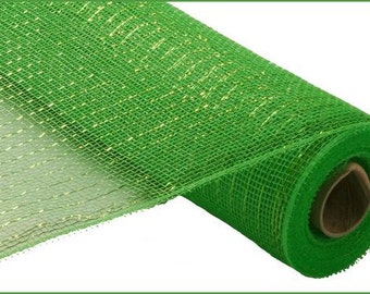 21 Inch Lime Green Lime Green Foil Deco Mesh Roll RE100150, Deco Mesh Supplies