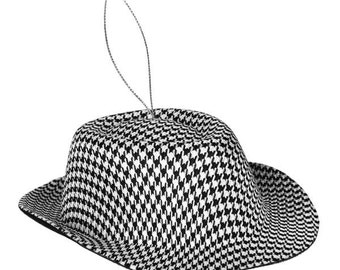 Houndstooth Hat Ornament XY6633, Fedora Style Hat, Wreath Decor, Christmas Tree Decor, Decorations