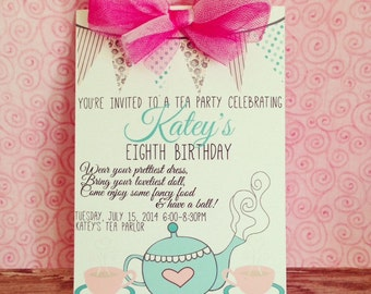 printable tea party invitation, tea party birthday invite, custom digital tea party invitation