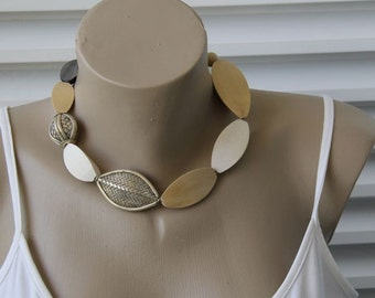 Woven Silver, Triangular Wood, Fossilized Coral Asymmetric Statement Necklace