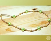"""19"""", Lime Green AAA Shell Pearls, 18K Gold Vermeil Over Sterling Silver, Seed Beads, Magnetic Clasp, Gold"""