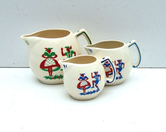 Mid Century Folk Art Creamers, Small Decorative Pitchers marked Czechoslovakia
