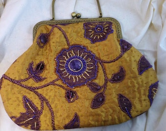 Amethyst and bead-embroidered gold brocade purse/handbag with Kiss Clasp
