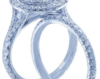 14k white gold round cut diamond engagement ring and band 2.90ctw h-si1 egl usa