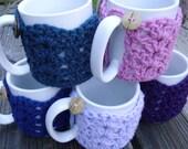 Tea or Coffee mug Cozy in dark blue, blue, purple, lavender, or pink office or teacher gift, cup cozy, mug sweater, mug cover