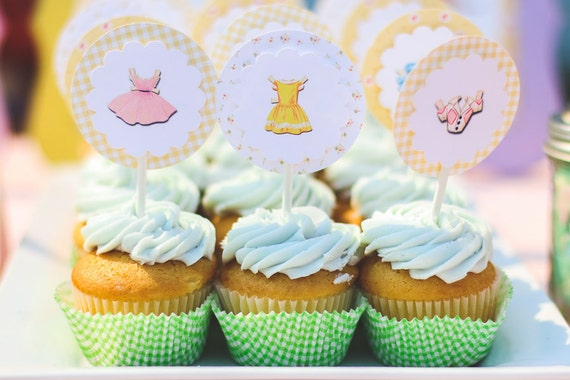 Vintage Paper Doll Cupcake Toppers