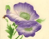 Bas Relief Purple Poppy With Small Silver Horseshoe on Unused Vintage Valentine's Day Postcard – Rich Deep Colors