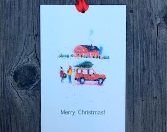 Christmas Tree on Car Holiday Gift Tags - Set of 12