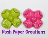 5 sets of 2 Flower crayons  - in cello bag tied with ribbon - choose your color