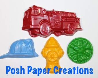 4 Fireman theme crayons - choose your colors