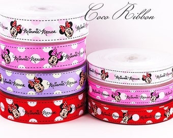 10 yards 5/8~ 1 inch 16mm~ 25mm  Minnie Mouse With Dot Print Grosgrain Ribbon