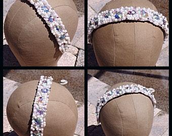 Swarovski Crystal AB and Pearl cluster Bridal Wedding Headband
