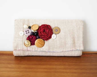 Beige Cloth Trifold Clutch Wallet with Rosettes and Buttons