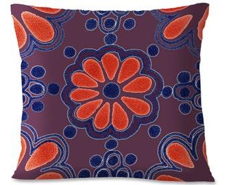 PURPLE Mexican Pillow Cover - TALAVERA TILE Design - Southwest - Mexican Home Decor - European Linen Backing
