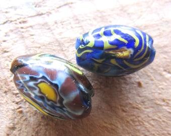 2 Vintage Venetian Millefiori Beads