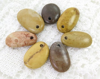 Top Drilled Beach Pebbles Set of 7 pcs Longish Beach Stones for Handmade Jewelry Supplies Crafts