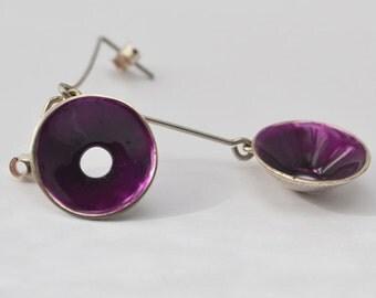 silver earrings, Purple Conical earrings, liquid glass earrings, enamel earrings, Conical