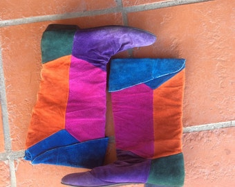 Vintage Colorblock Suede tall 80's Pirate Boots 7.5