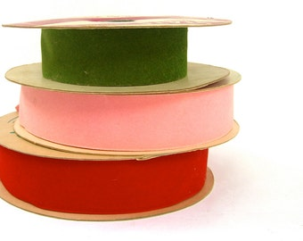 Vintage Satin Velour Flocked Ribbon, Wide Velvet, Holiday Craft Trim, Moskatels, Stats, 1960s 70s Red Pink Olive Green, Christmas Valentines