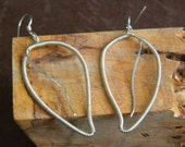 Hand Coiled Sterling Silver Wire Wrapped Leaf Earrings, leaf, nature, leaf earrings, wire wrapped earrings, wire wrap leaf earrings, earring