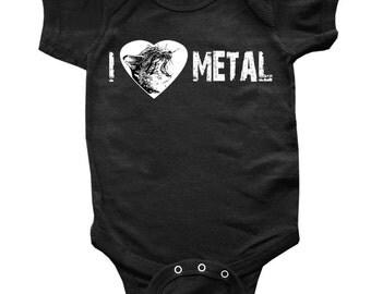 I Heart Metal Screaming Cat Baby Onesie Toddler Shirt  - ON SALE!