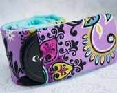 Camera Strap Cover with Lens Cap Pocket - Padded Minky - Photographer Gift - Purple Flowers with Aqua Minky
