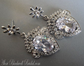 Rhinestone Bridal Earrings Art Deco style in an open back design sparkling CZ Crystal silver rhodium plated 2 inches long wedding jewelry