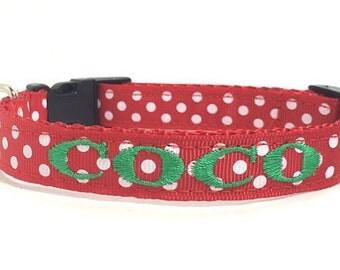 Personalized- Christmas Dog Collar- Red Polka Dot Collar