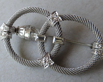 Original Art Deco Diamond & Platinum Double Circle Brooch / Pin