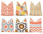 Autumn Pillows Fall Pillow Covers Throw Pillow Cover One Throw Pillow Orange Pillow Thanksgiving Chevron  20 x 20 Inches Mix and Match