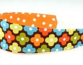 Reversible Fabric Headband- Children Toddler in Remix Floral Mosaic in Fall Brown Orange Yellow Green Turquoise Bermuda Halloween