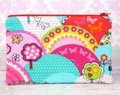 READY to SHIP! Zipper Pouch, Coin Purse, Card Case, Clutch in Michael Miller Happy Hills Bright Rainbow Trees Flowers