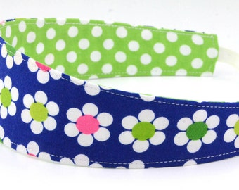 Reversible Headband- Children Toddler in Remix by Ann Kelle for Robert Kaufman Navy Blue Daisies and Green Dots