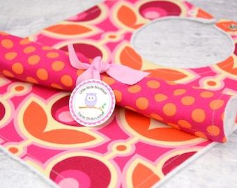 Bib and Burp Cloth Set- Joel Dewberry's Notting Hill Collection - Primrose Magenta Pink Orange