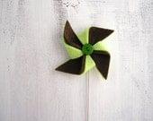 Green and brown pinwheel felt brooch, pin wheel jewelry, metal stick pin brooch, windmill brooch