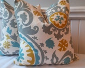Suzani Premier Prints, Summerland Pillow Cover ,18x18, Ready to Ship by Sew Custom Designs