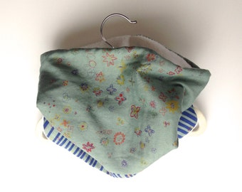 Neck Warmer, Tube Scarf:  Grey-Green Floral with Cobalt Lines