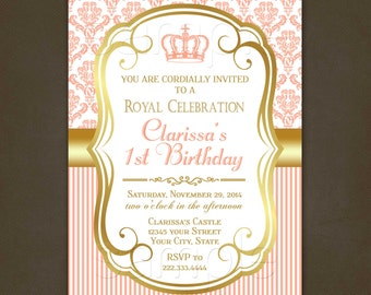 Princess Coral Damask Birthday Invitations Printable File, Princess 1st Birthday Invitation, Damask, Pink, Gold, Birthday Party, Pink Damask
